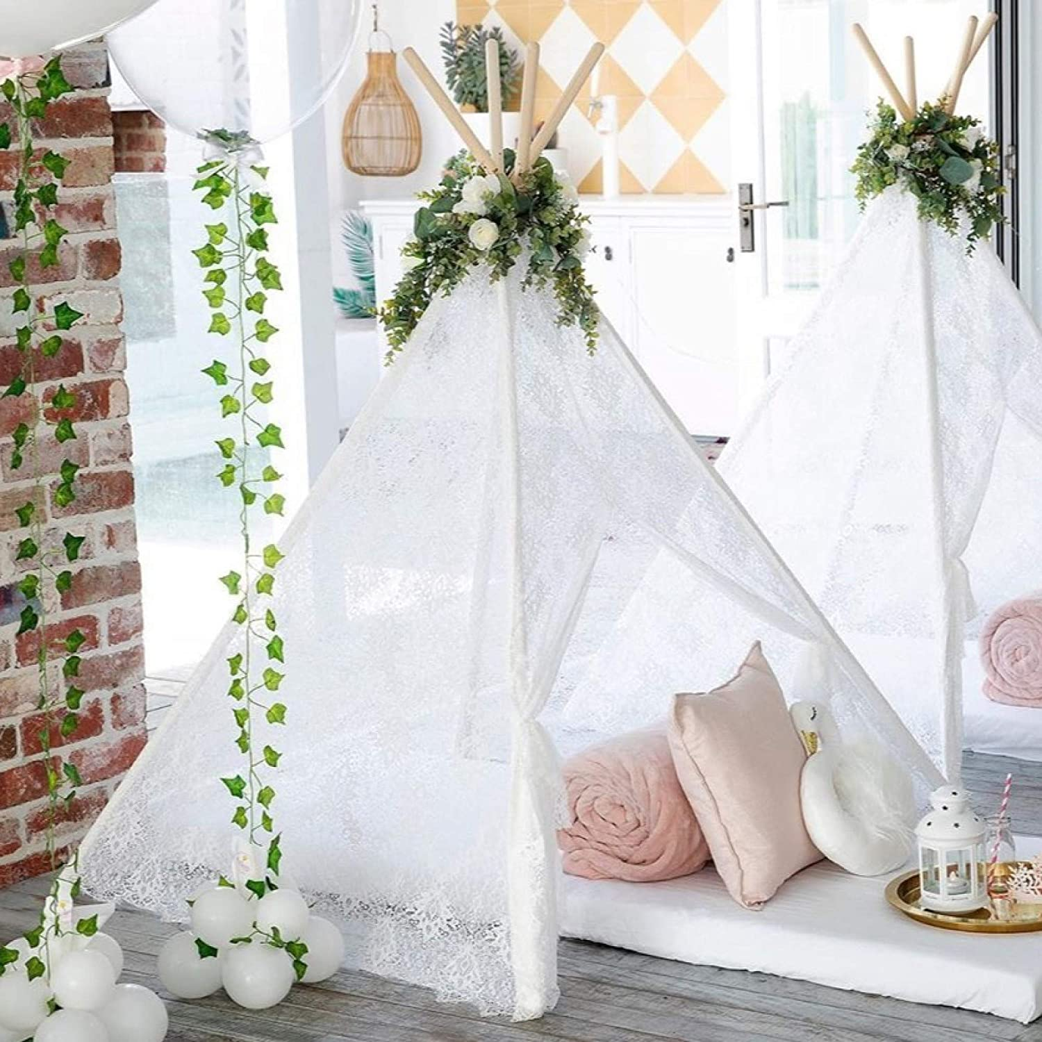 Kids Teepee Tent for Indoor Outdoor Children Play Tent Boho Lace Tipi (150cm Tall)