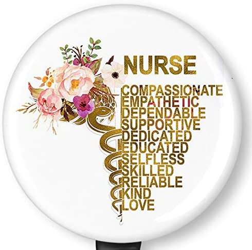 Floral Nurse Quotes Retractable Badge Reel with Alligator Clip,Name Nurse ID Card Badge Holder Reel, Decorative Custom Badge Holder