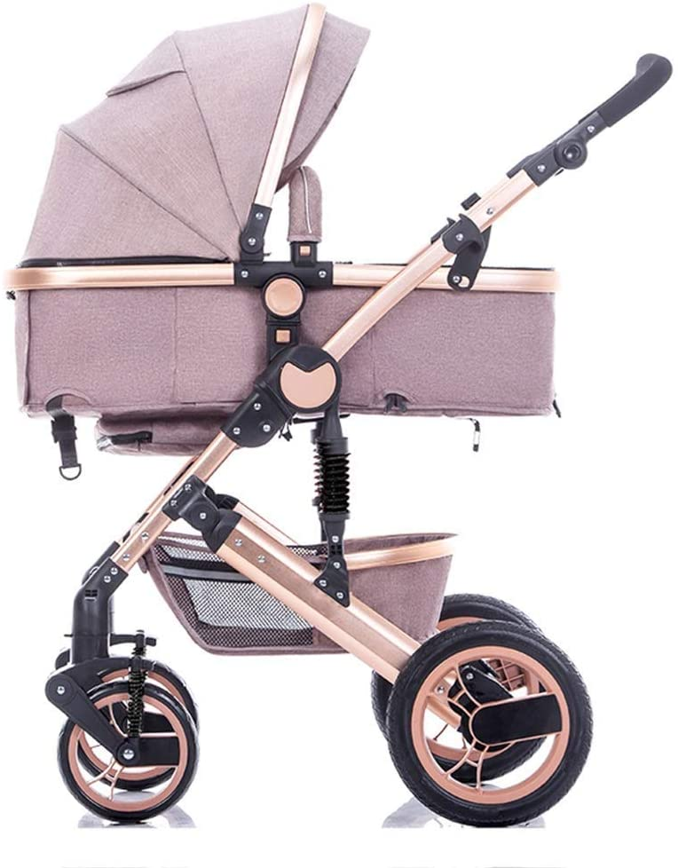 Lightweight Stroller Baby Carriage Infant Travel Buggy Foldable Can Sit and Lie Down for 0-3 Years Old Bassinet Stroller Aluminum Frame Travel System