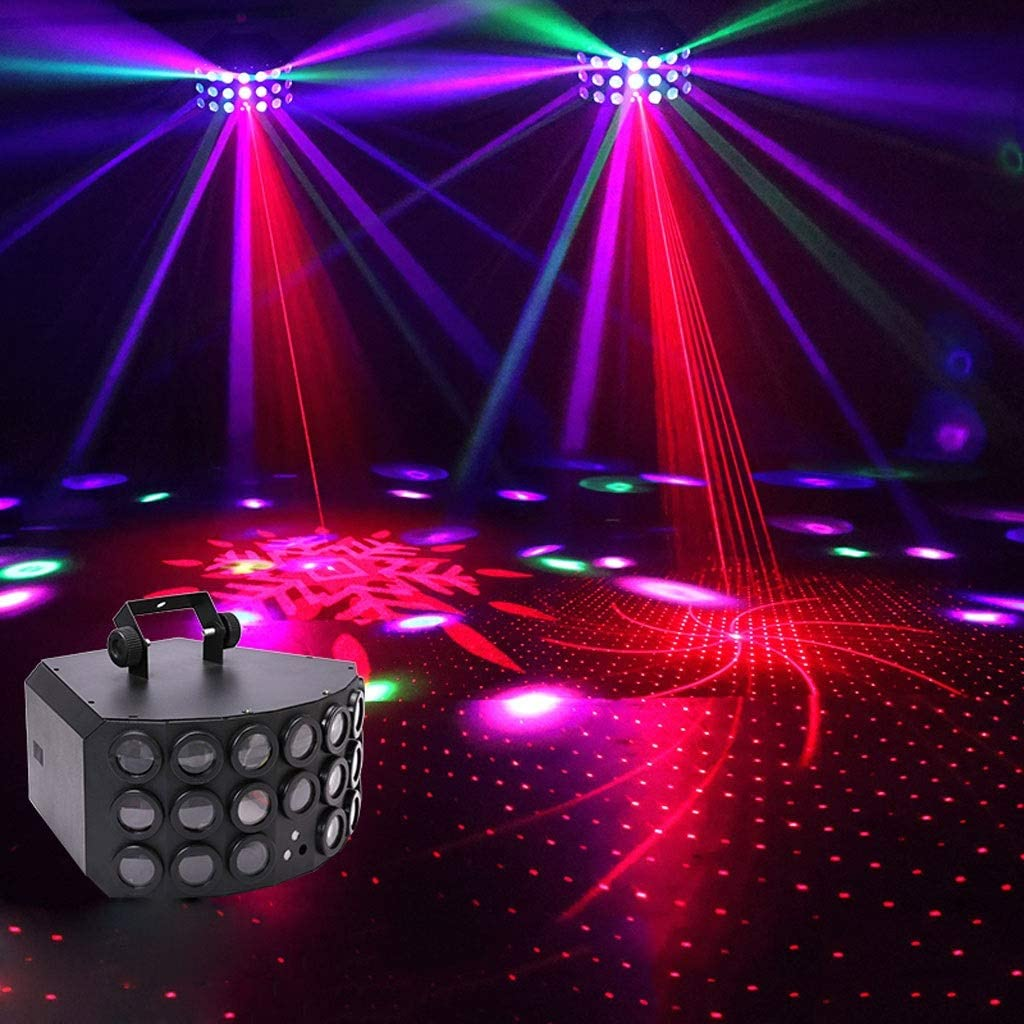 Disco Light, Three-layer LED 9-color Butterfly Light, DMX512 With Remote Strobe, Sound Activated Flash DJ Stage Light, Suitable For Bar KTV Wedding Christmas
