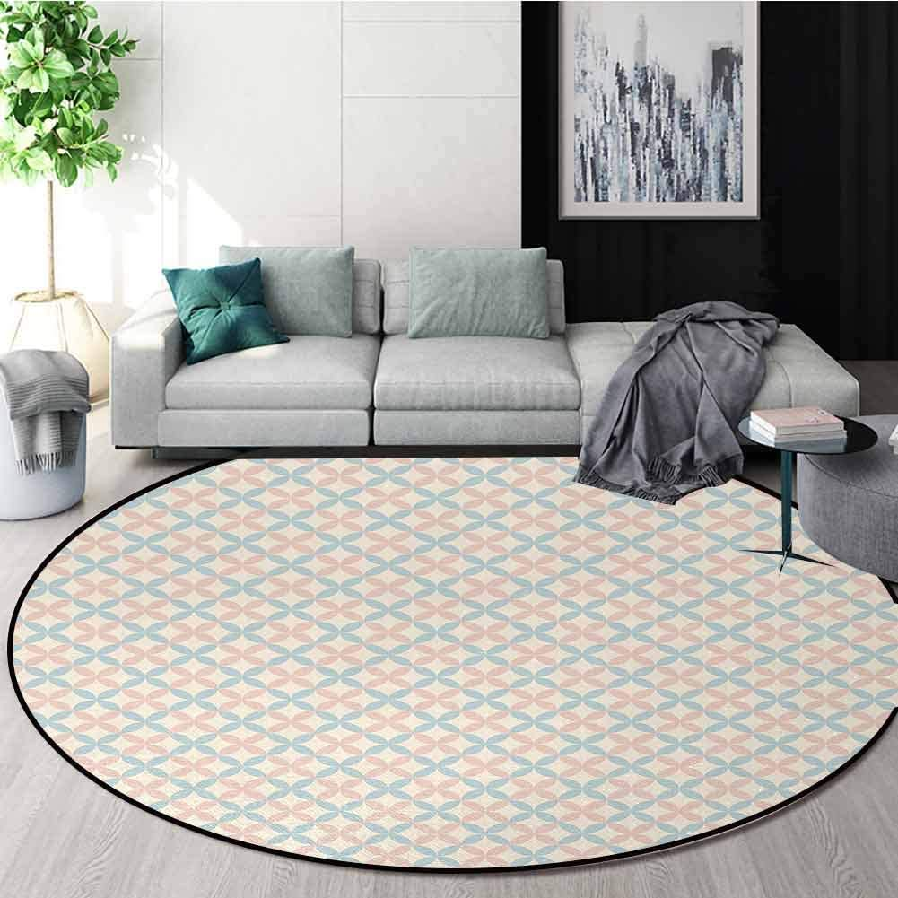 Shabby Chic Modern Flannel Microfiber Round Area Rug,Floral Motif Pastel Colors Flower Petals Pattern Geometric Ornate Living Room Bedroom Study Soft Carpet Round-24 Inch,Cream Salmon Light Blue