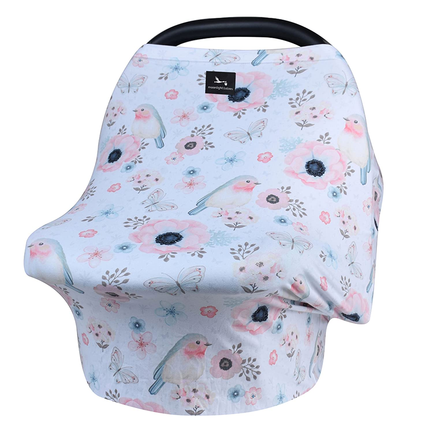 Moonlight Babies Infant Car Seat Canopy Cover   Multi-Use Nursing, Breastfeeding, Shopping Cart Convertable Cover   Ultra Soft Breathable Stretchy   Birds and Flowers
