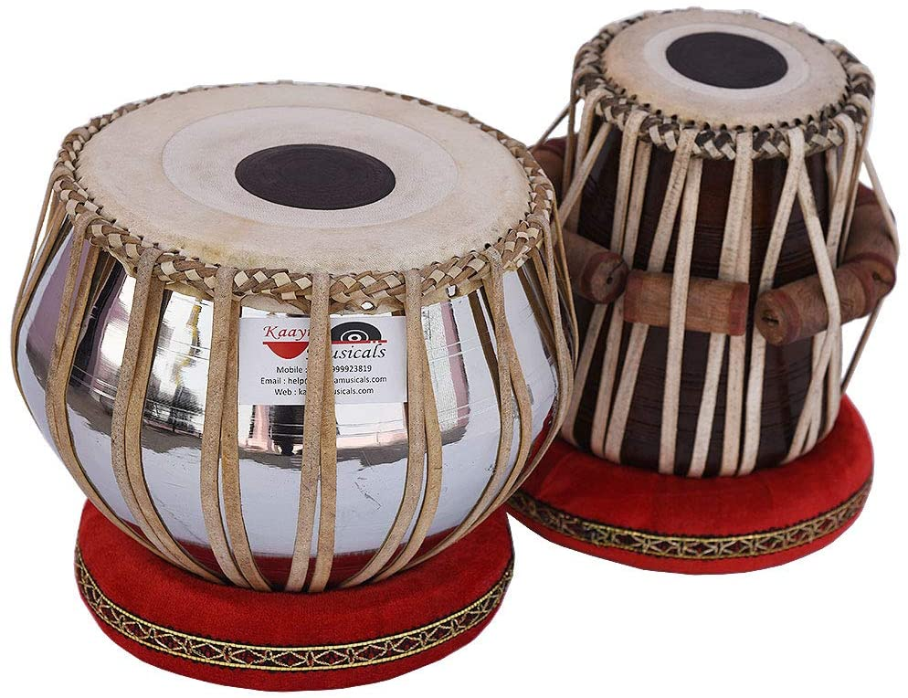 Tabla Drum Set, Pro Grade, 2.5 Kg Brass Bayan, Chrome Finish, Sheesham Wood Dayan, Hand Made Drum Skin, Leather Straps to Tune, Long Life, Comes with Tuning Hammer, Gig Bag, Cushion & Cover