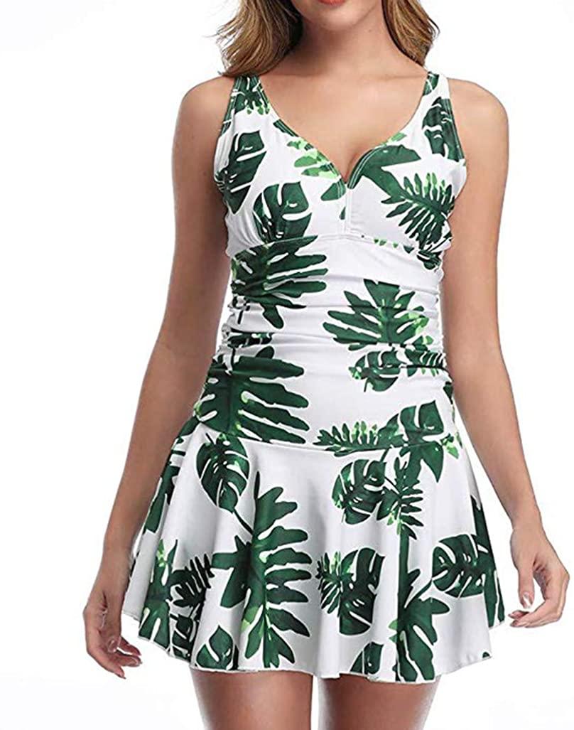 YOMXL Women Floral One-Piece Swimdress Skirted Tummy Control Swimwear Beachwear