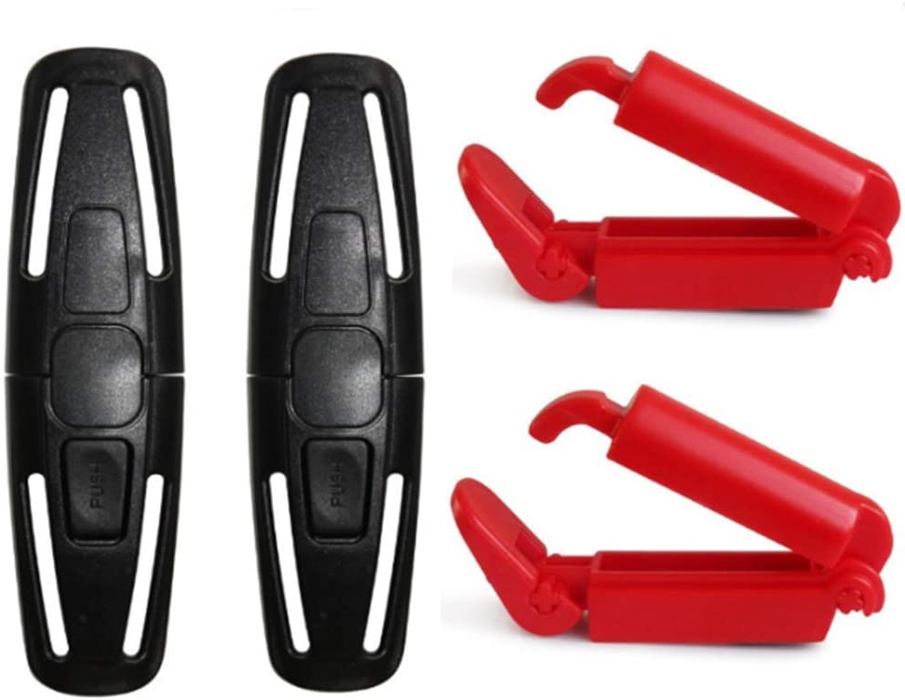 powerer 2 Pack Car Seat Chest Harness Clip and 2 Pack Red Car Seat Safety Belt Clip Buckle for Baby Safety Universal Replacement for Baby and Kids Trend, Adjustable Guard