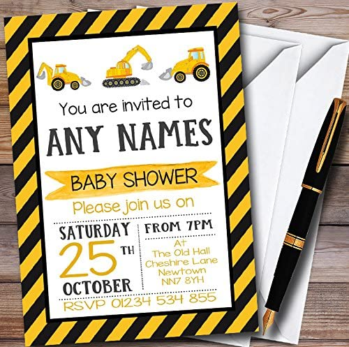 10 x Digger Construction Dump Everything Personalized Baby Shower Invitations