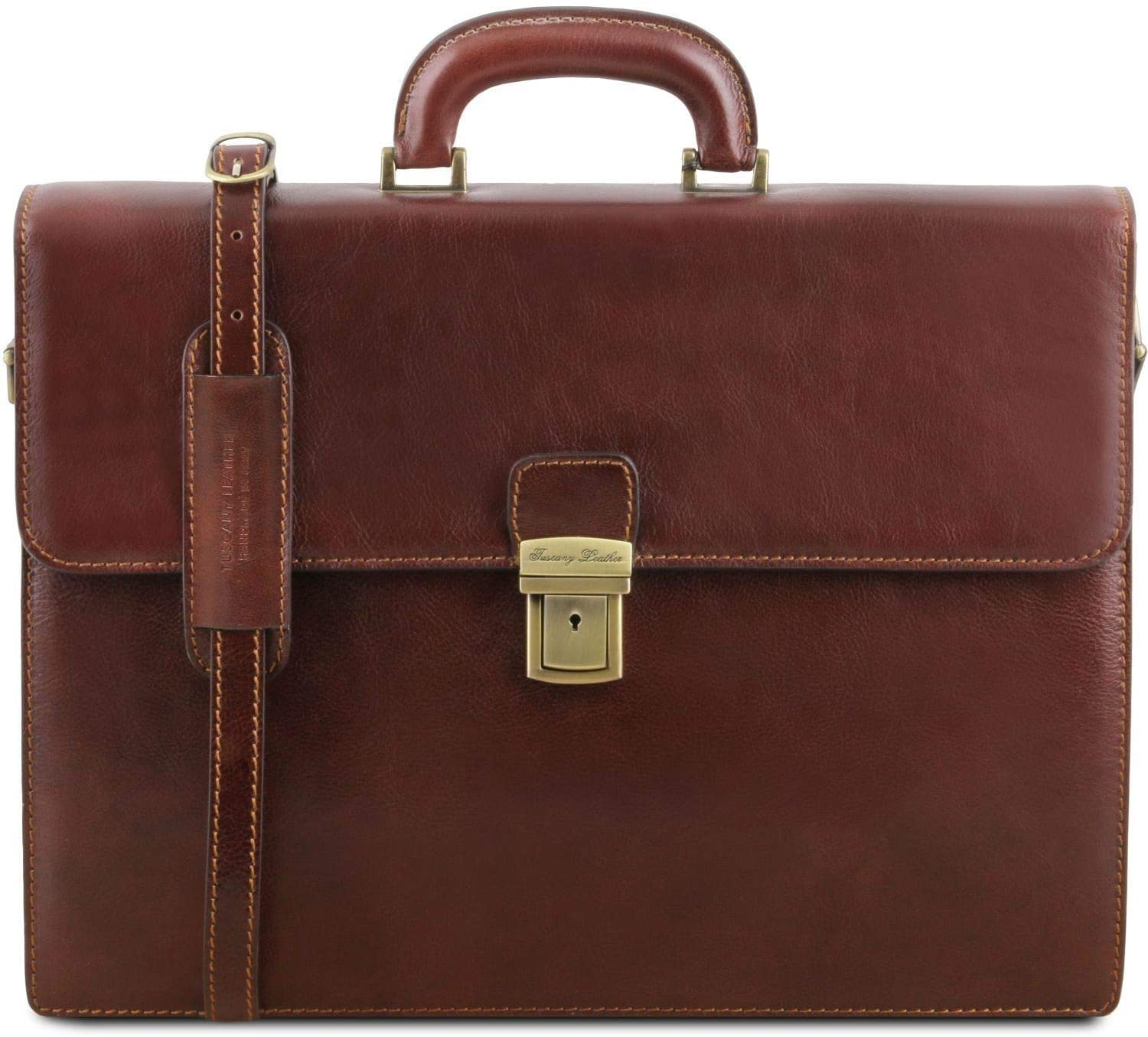 Tuscany Leather PARMA Leather briefcase 2 compartments Brown - TL141350/1