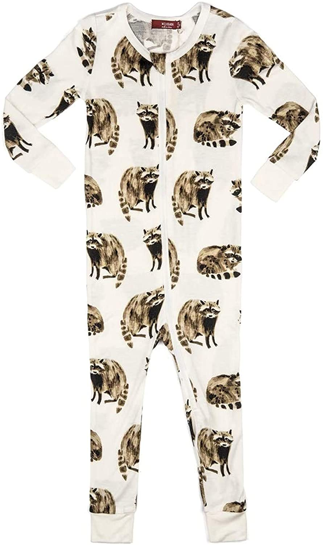 MilkBarn Bamboo Zipper Pajama - Raccoon