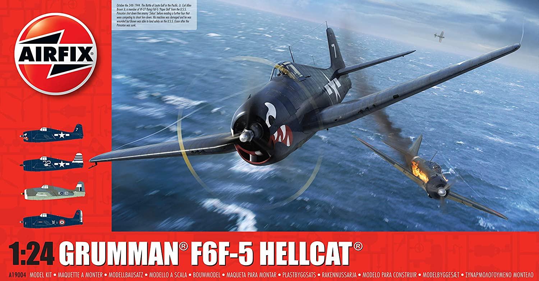 Airfix Grumman F6F-5 Hellcat 1:24 WWII Military Aviation Plastic Model Kit A19004, Unpainted