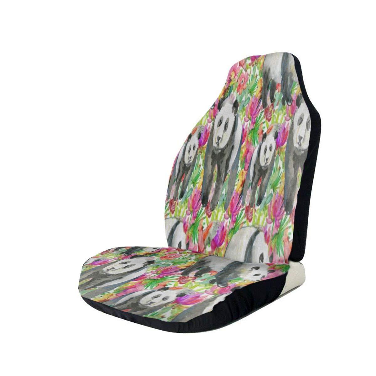 Car Seat Covers Watercolor Floral Panda Animal Best Automobile Seats Protector Fit Most Car,Truck,SUV,Van 2PCS