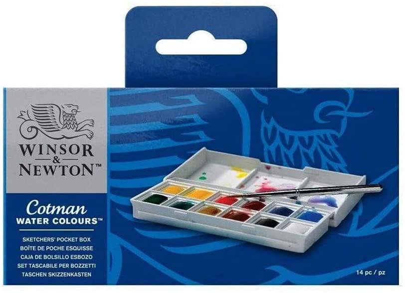 Water Colour Paint Sketchers' Pocket Box, Half Pans (14-Pieces)