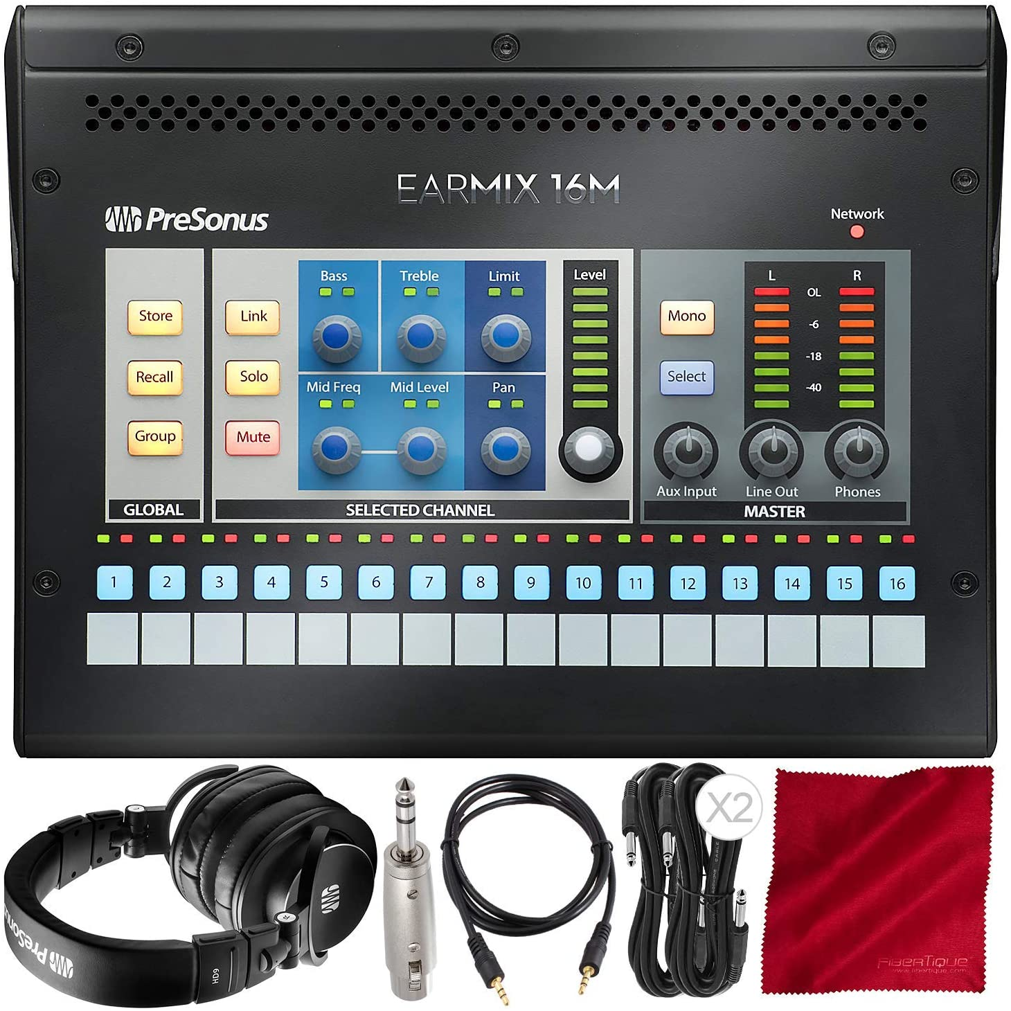 PreSonus EarMix 16M 16x2 AVB-Networked Personal Monitor Mixer with Professional Monitoring Headphones and Assorted Cables Platinum Bundle