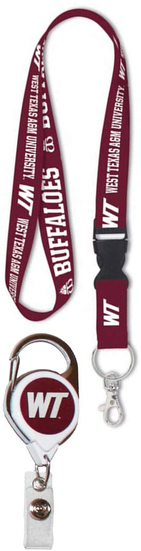 WinCraft Bundle 2 Items: West Texas A&M Buffaloes 1 Lanyard and 1 Premium Badge Reel