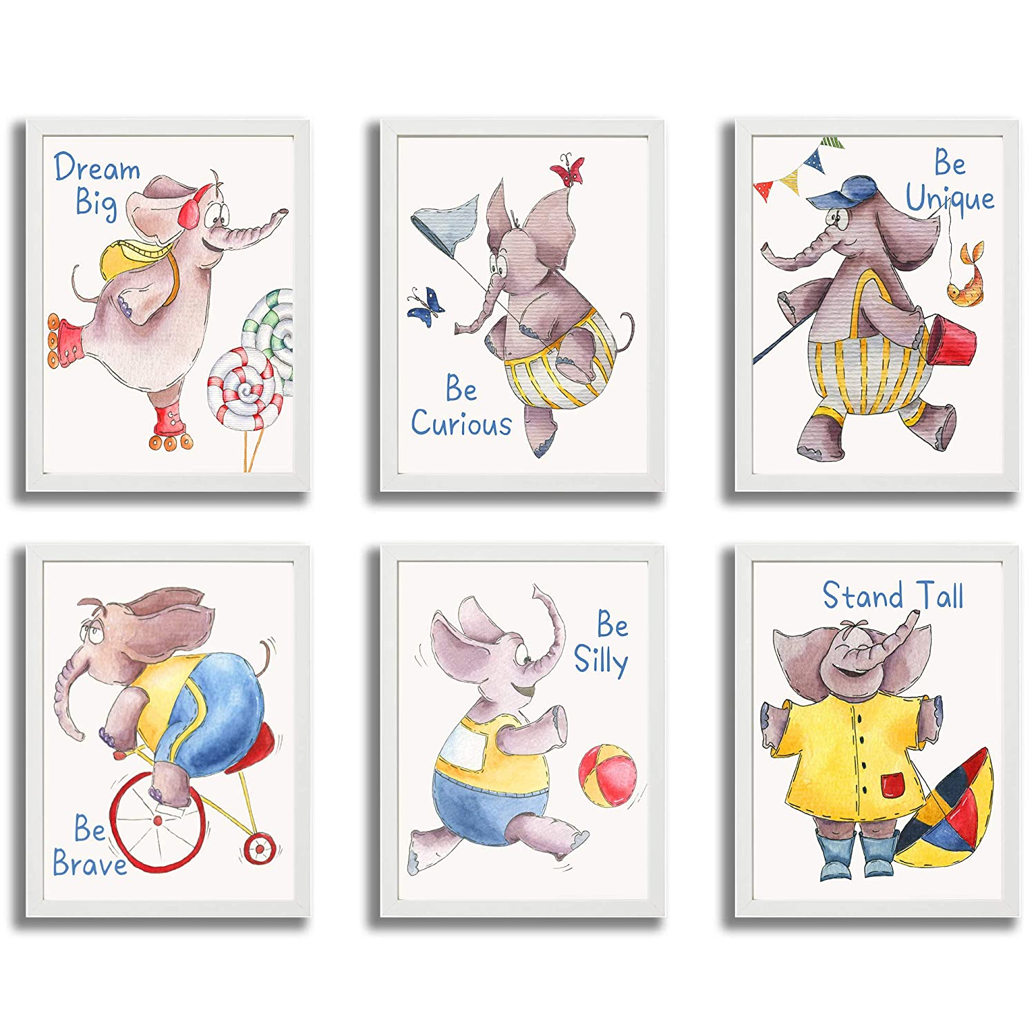 ETIUC Watercolor Elephant Nursery Wall Decor Inspirational Quotes Kids Room Wall Art Prints Unframed Set of 6 8x10in Safari Animals New Born Infant Baby Boy Girl Bedroom Jungle Zoo Prints