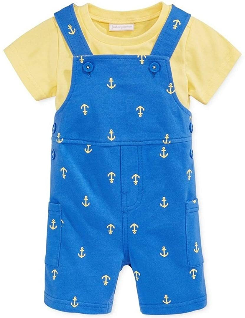 First Impressions Baby Boys 2pc Tee & Anchor Shortalls Set Blue