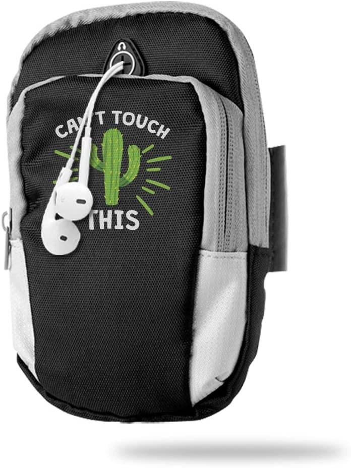 Sports Arm Bag Free Gym Phone Armbands Cell Phone Arm Holder Can't Touch This Funny Cactus Pouch Case with Earphone Hole for Running for Men Mini Shoulder Bag Travel Women Kids Handbag