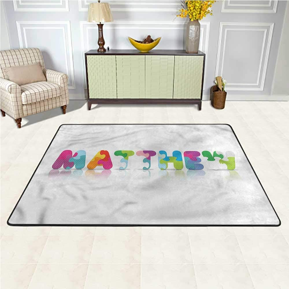 Rugs Matthew, Colorful Baby Name Baby Crawling Mat for Children to Crawl and Play 5 x 7 Feet