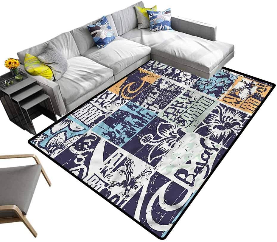 Grunge, Modern Rugs Pop Art Inspired Patchwork Baby Floor Playmats Crawling Mat for Living Room Kids Room, 7'x 7'