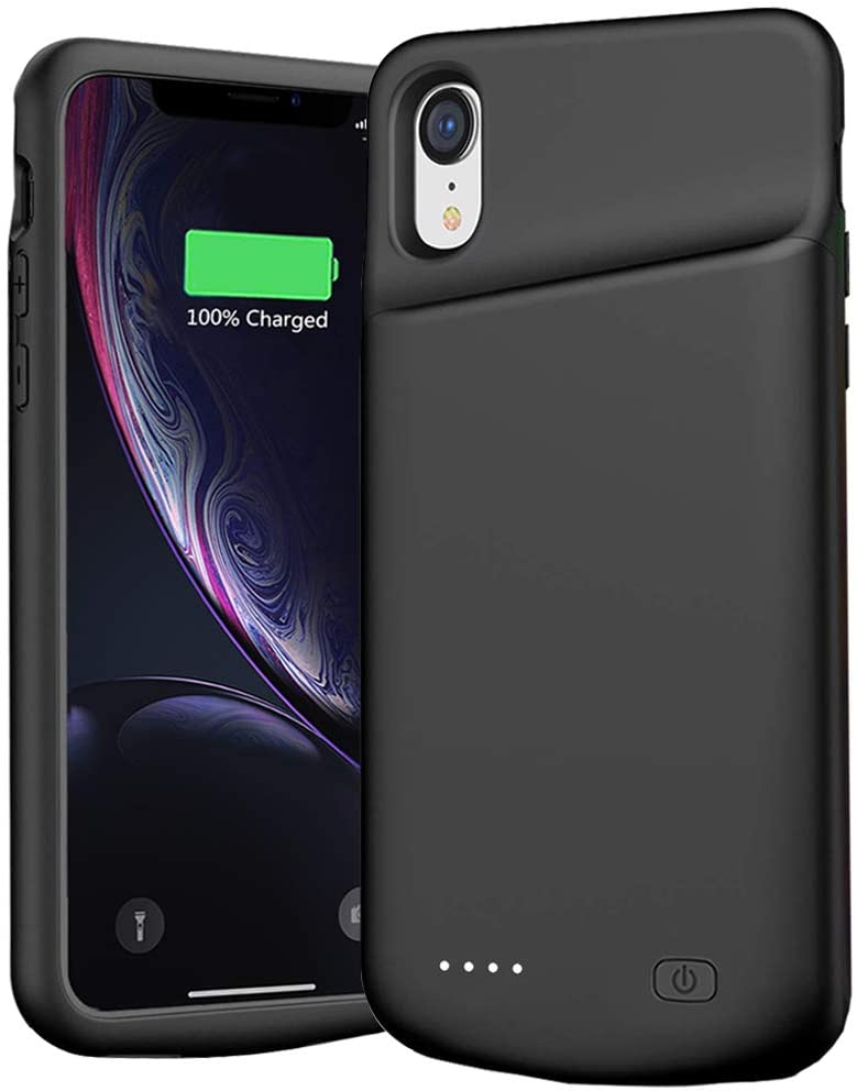 Battery Case for iPhone XR, 6000mAh Extended Portable Battery Pack Rechargeable Smart Charger Case Compatible with iPhone XR (6.1 inch) External Battery Cover Charging Case (Black)
