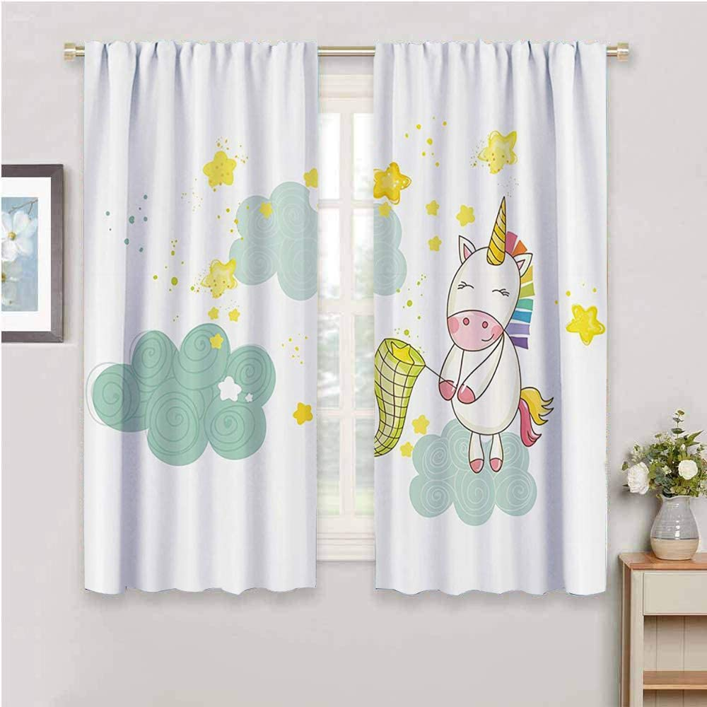 Unicorn Premium Blackout Curtains Baby Unicorn Girl Sitting on Fluffy Clouds and Hunting Nursery Image Daily use Almond Green Yellow W52 x L63 Inch