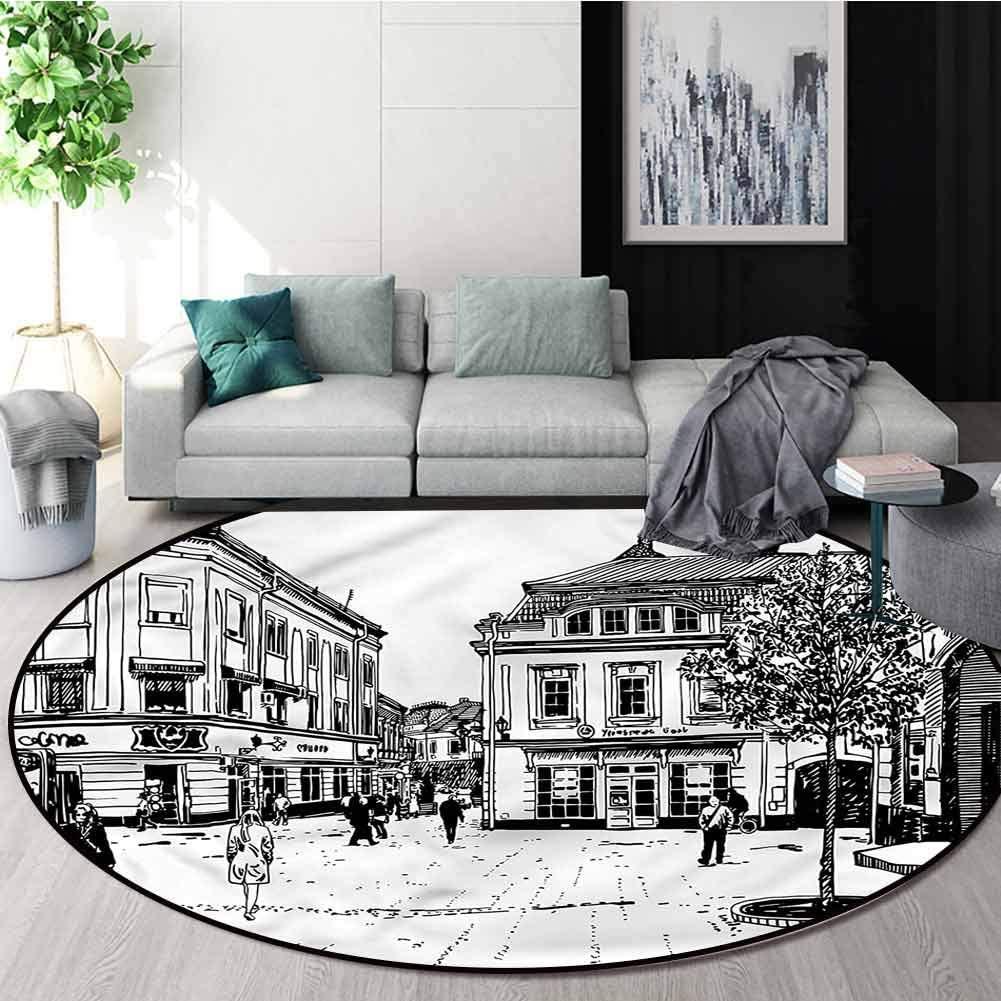 RUGSMAT Cityscape Washable Creative Modern Round Rug,Retro Street Sketch Art Floor Mat Home Decor Round-24
