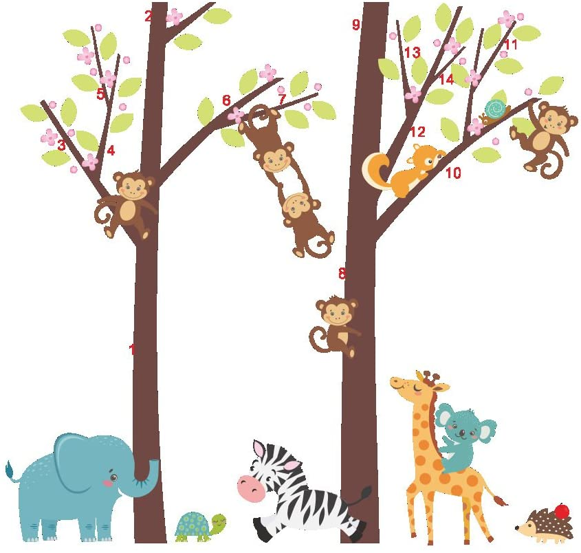 AWAKINK Cartoon Forest Giant Brown Tree Animals Giraffe Elephant Zebra Monkey Wall Stickers Wall Decal Vinyl Removable Art Wall Decals for Girls and Boys Nursery Room Children's Bedroom