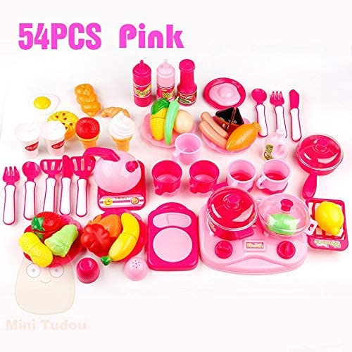 ShopMercimilo Classic Cooking Toys for Children 54PCS Pretend Play Cutting Food Set Kids Kitchen Educational Toy Play House Toys for Girls 54PCS Pink