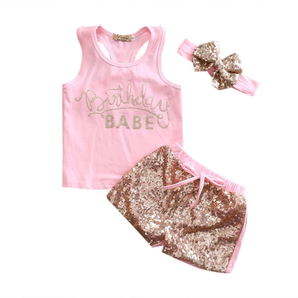 Multitrust Newborn Baby Girls Sequins Birthday Vest Tops and Shorts Set 3PCS Baby Girls Sleeveless Shirts Pants