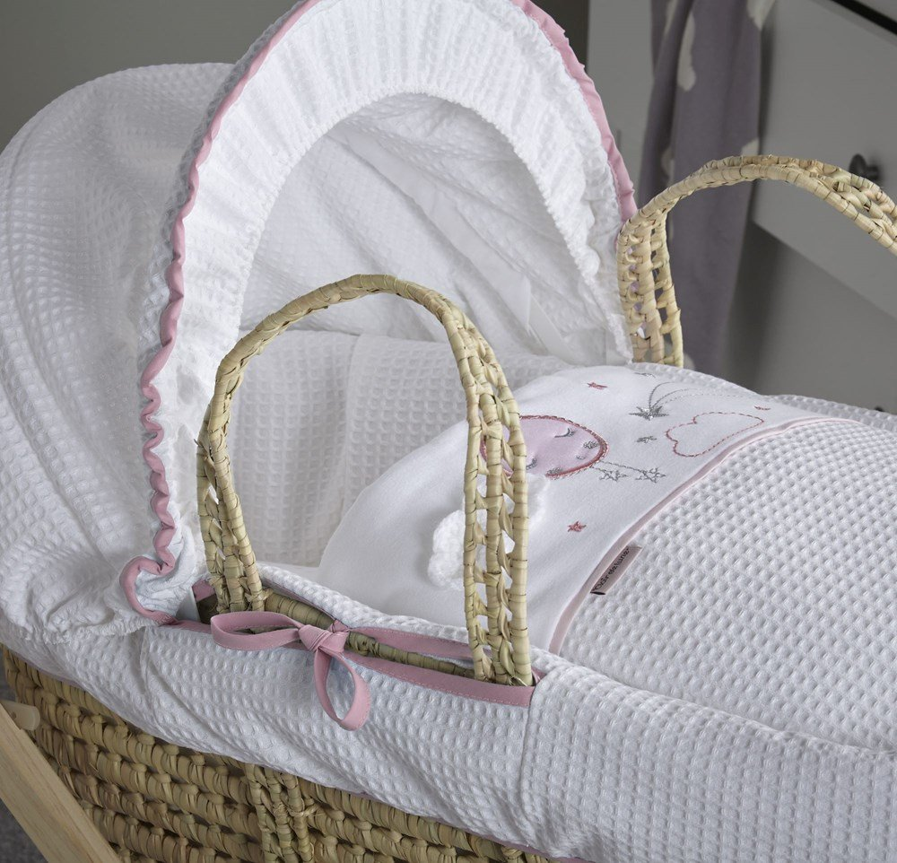 Clair de Lune Over The Moon Palm Moses Basket (Pink)