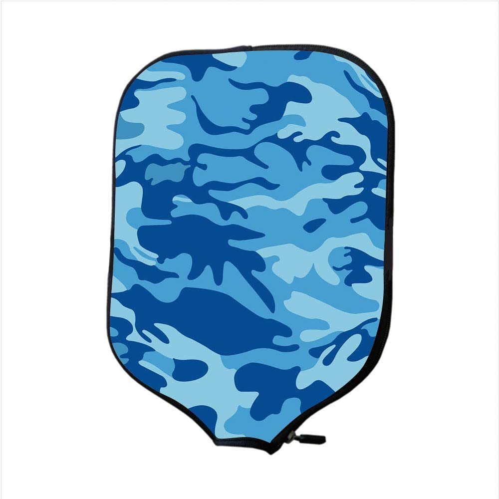 iPrint Neoprene Pickleball Paddle Racket Cover Case,Camouflage,Abstract Camo Navy Military Costume Concealment from The Enemy Hiding,Pale Blue Navy Blue,Fit for Most Rackets - Protect Your Paddle
