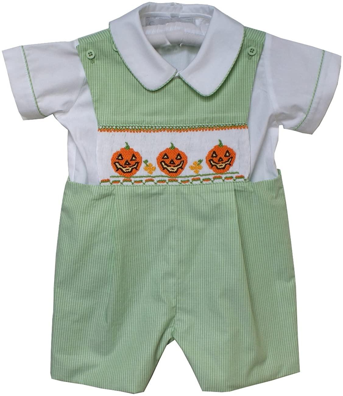 Boys Halloween Smocked Pumpkin Jack-O-Lantern Fall Shortall with Shirt