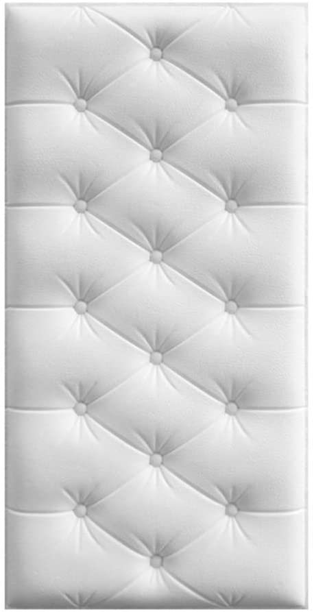 CAOXN 3D Soft PE Foam Faux Leather Wall Panels, Self Adhesive Wall Removable Sticker Waterproof Wallpaper Anti Collision for Nursery Baby Kids Room,White,1Pc