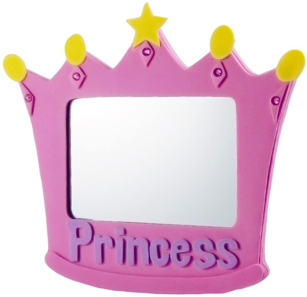 EMILYSTORES EVA Unbreakable Size 5 Inch Pink Princess Mirror 1PC