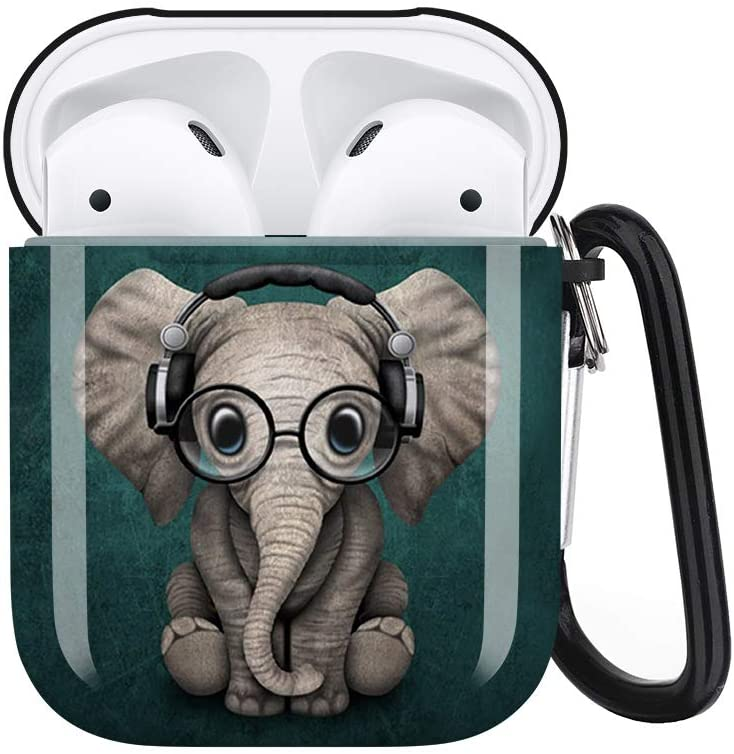 Cute Elephant Airpods Case Cover Personalized,Durable Airpods Accessories for Apple Airpods Charging Case 2&1,Shockproof Drop Proof Protective Case Cover with Keychain/Neck Running Strap
