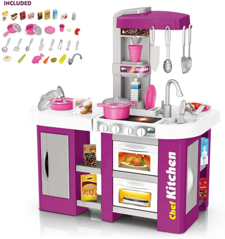Erwazi Kids Kitchen Playset, Play Kitchen Sets with Realistic Lights Sounds and Running Water, Rich Simulation Tableware for Kids Toddlers (Purple)