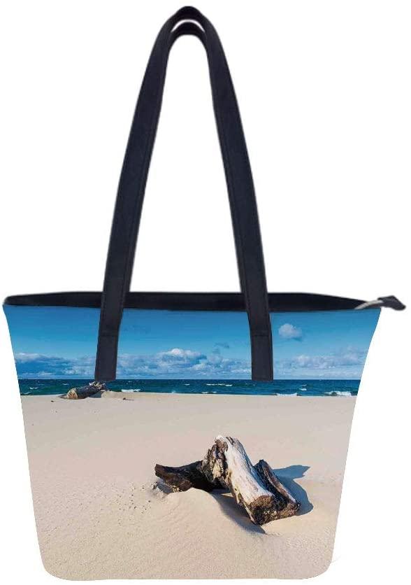 Driftwood Landscape Shore Women Leather Laptop Tote Office Shoulder Handbag Computer Briefcase