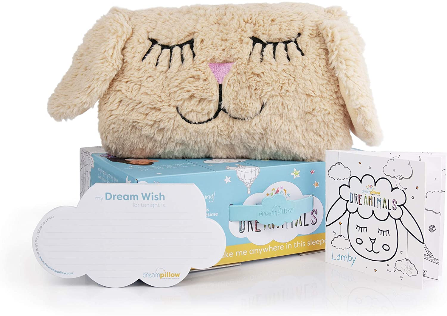 Dreamimals - Soft Squishy Plush Animal Pillow Special Pocket for Dream Wishes - Cute Comfy Security Toy for Toddlers and Kids Adorable Stuffed Lamb for Children to Cuddle to get Better Sleep - Lamby