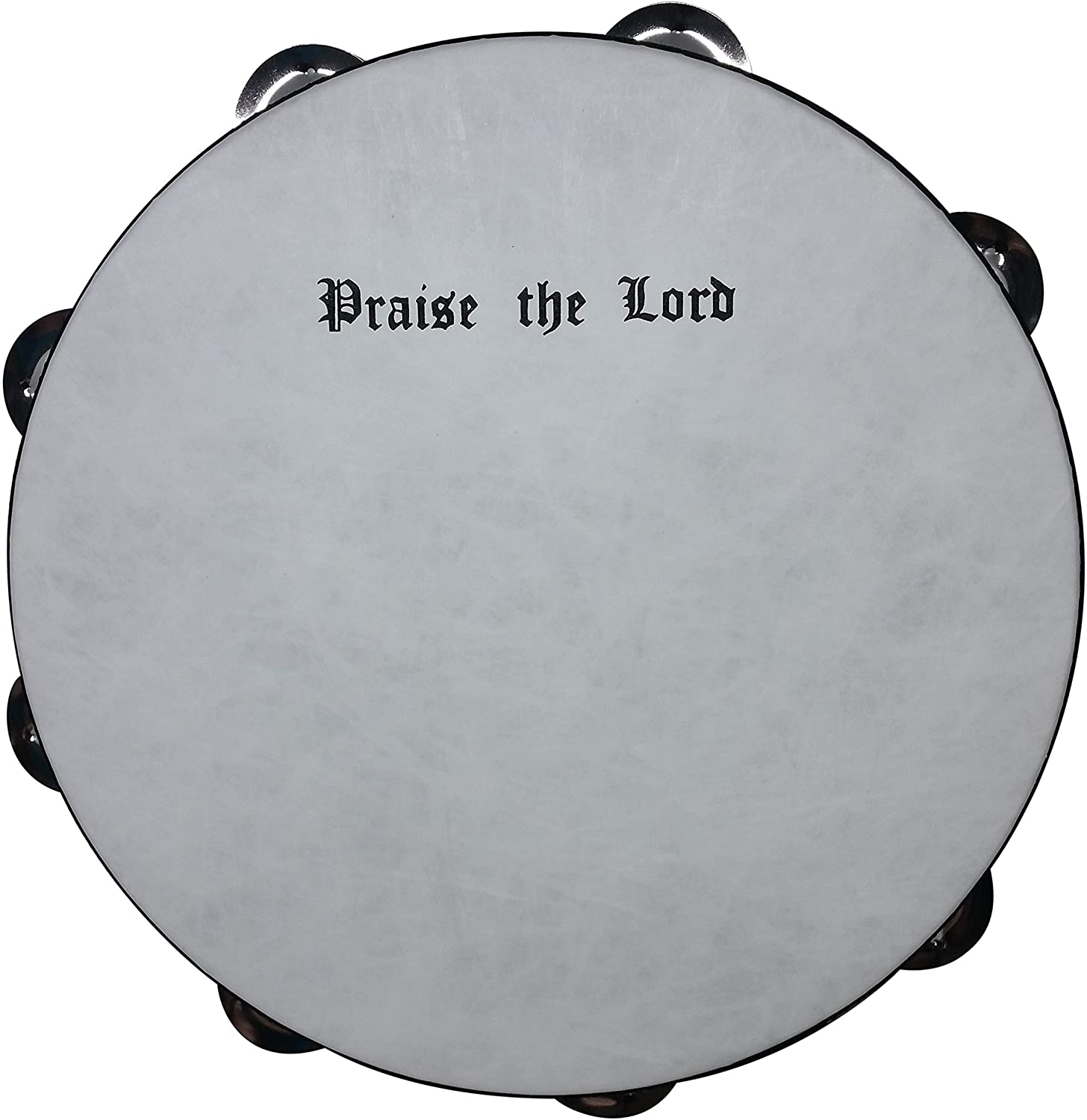 Rhythm Band Instruments PTAM10D Praise the Lord Wooden Tambourine 10 Inch with 16 Pairs of Double Row Jingles Black