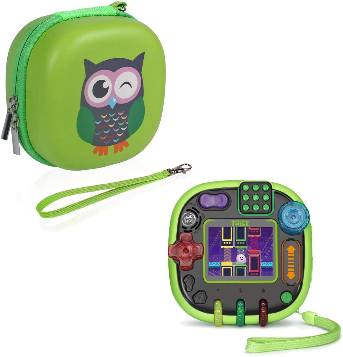 Simumu Hard Lovely Carrying Case for Leapfrog Rockit Twist Handheld Learning Game and Accessories-Waterproof, Drop Resistant, Portable(Green)