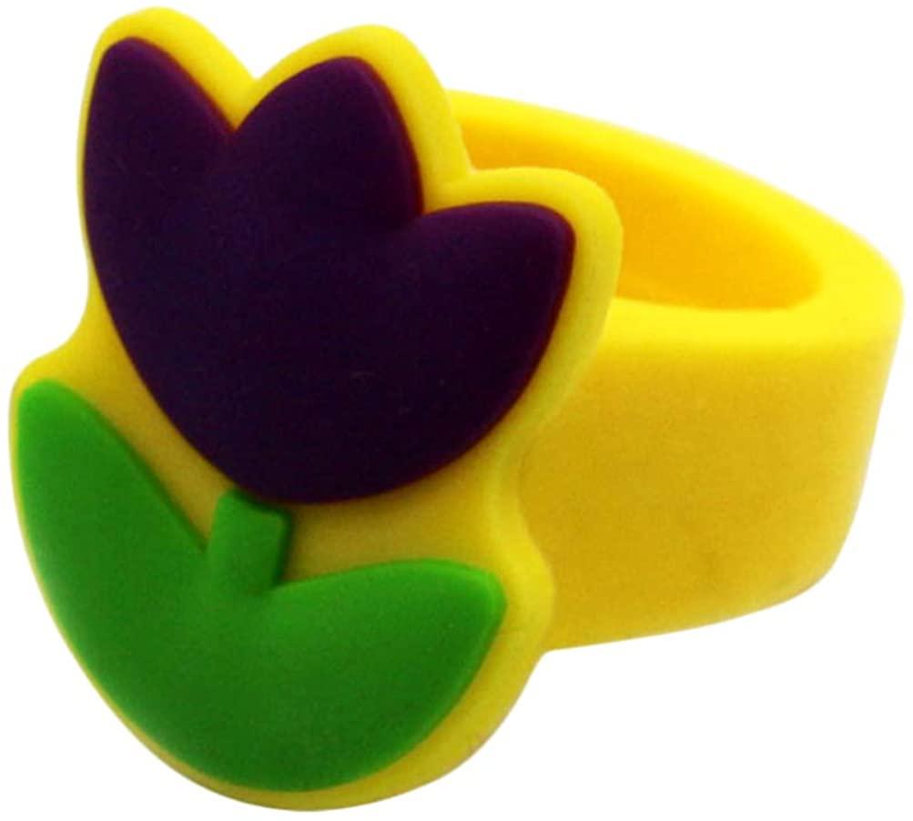 Happyyami Easter Rings for Little Girls Colorful Cute Ring Pretend Play Dress Up Rings Gift for Kids Childrens Little Girls Finger Jewelry (Random Color)