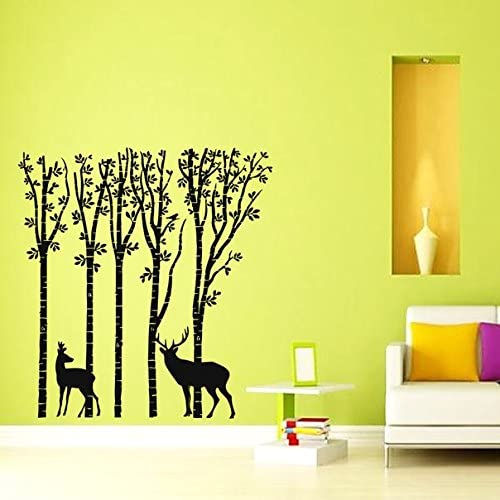 Deer Wall Decal Vinyl Sticker Birch Tree Forest Animals Wall Decals Murals Living Room Nursery Bedroom Dorm Wall Art Home Decor Z827