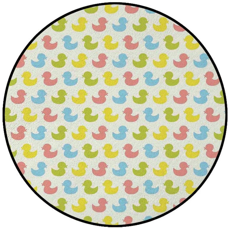 3 Round Area Rugs,Colorful Ducklings Baby Animals Theme Pastel Girls Boys Newborn Super Soft Washable Carpet for Living Room Bedroom Home Children Playroom Nursery, Pink Blue Green Yellow