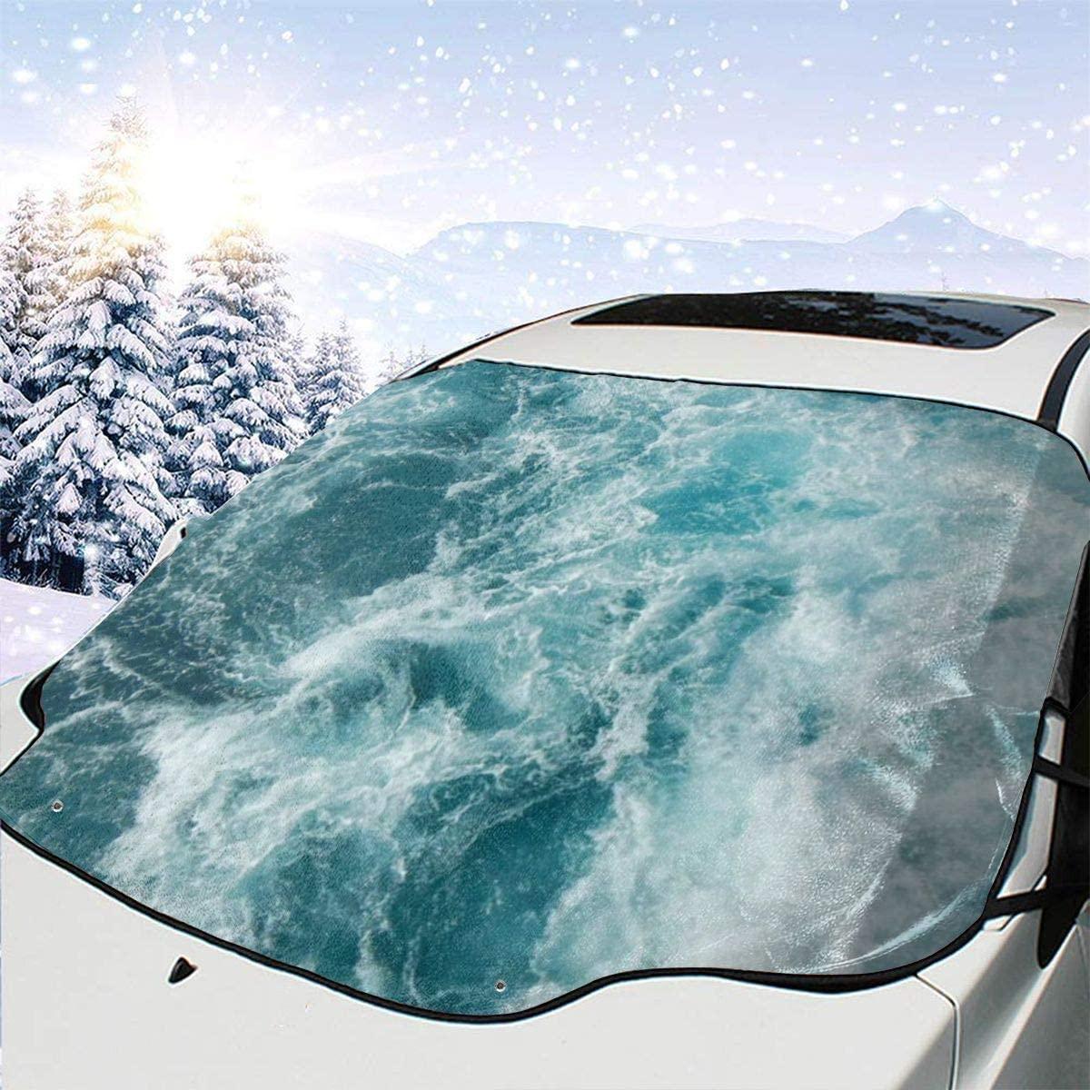 THONFIRE Car Front Window Windshield Winter Sun Shade Ocean Water Cover Sand Proof Blocks Heat Damage Free Visor Protector Trucks Autumn Heat Reflector