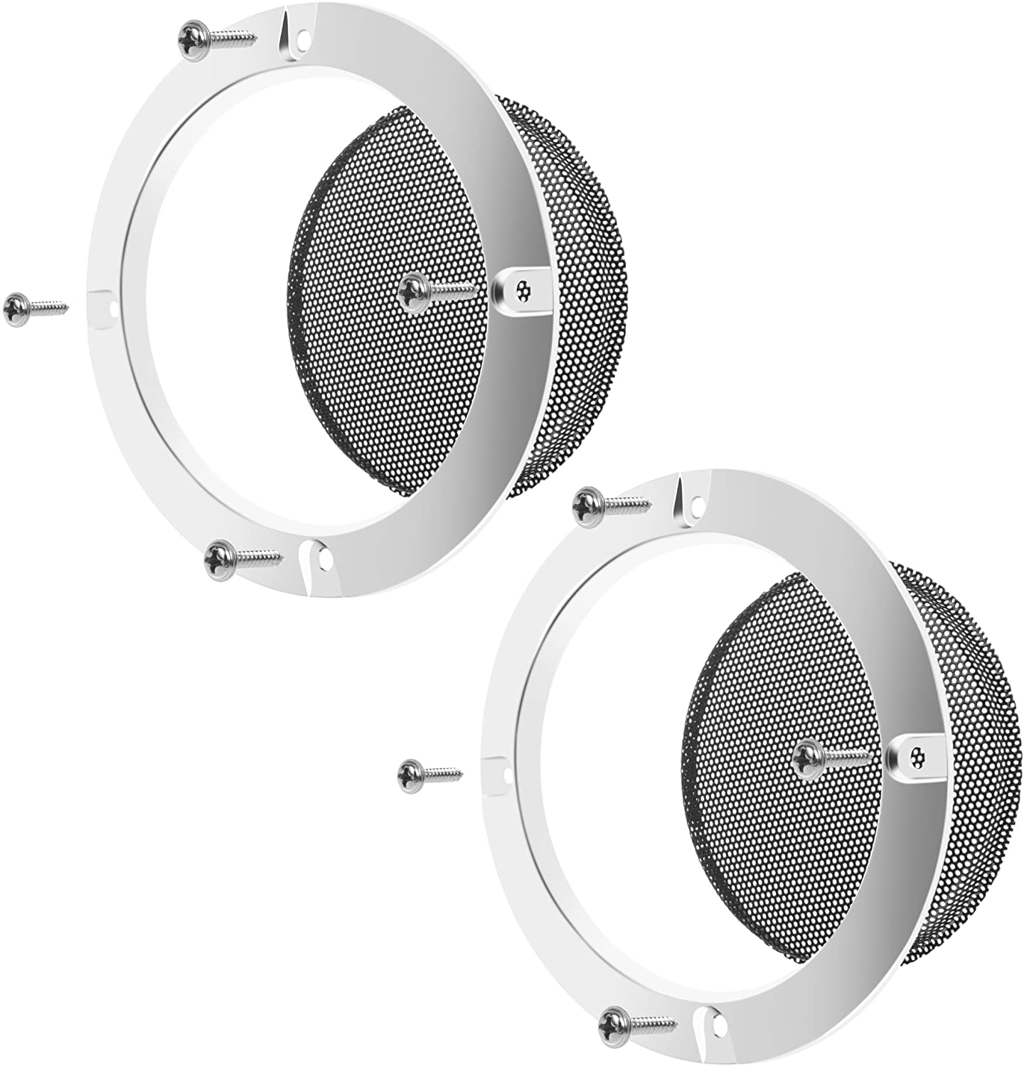 BCP 2 pcs 4 inch Silver Color Ring Black Mesh Speaker Decorative Circle Subwoofer Grill Cover Guard Protector with Screw