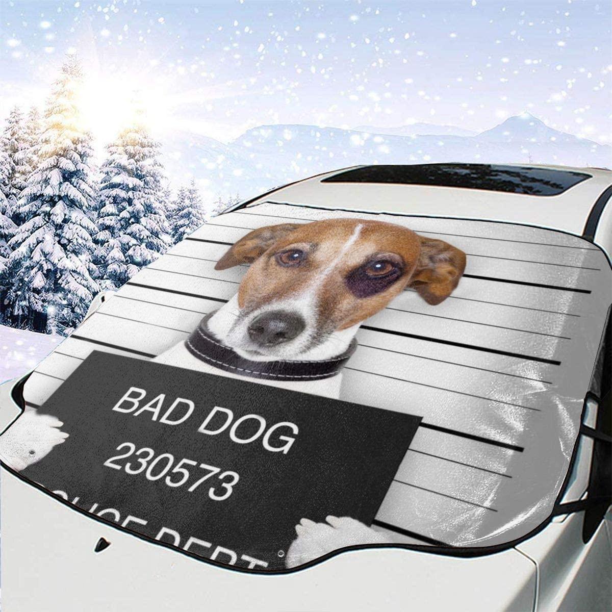 THONFIRE Car Front Window Windshields Ice Sunshade Bad Dog Cover Sand Proof Blocks UV Rays Damage Free Visor Protector Trucks Summer Heat Reflector
