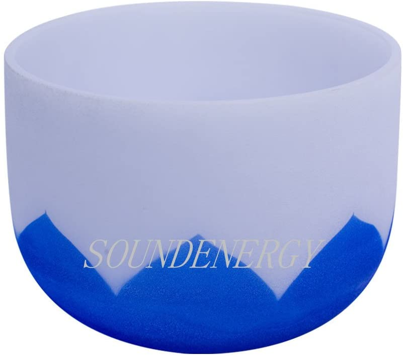 432Hz Perfect Pitch G Note Throat Chakra Frosted Quartz Crystal Singing Bowl 8 inch with lotus design