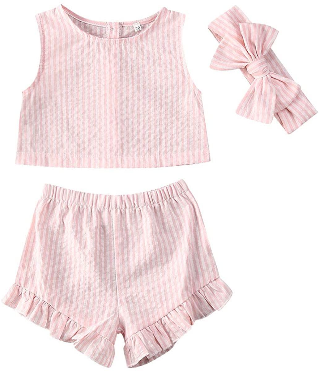 Marksmile Summer Newbrn Toddler Baby Girls Striped Sleeveless Top + Short Ruffle Elastic Band Pants+ Bow Hair Band