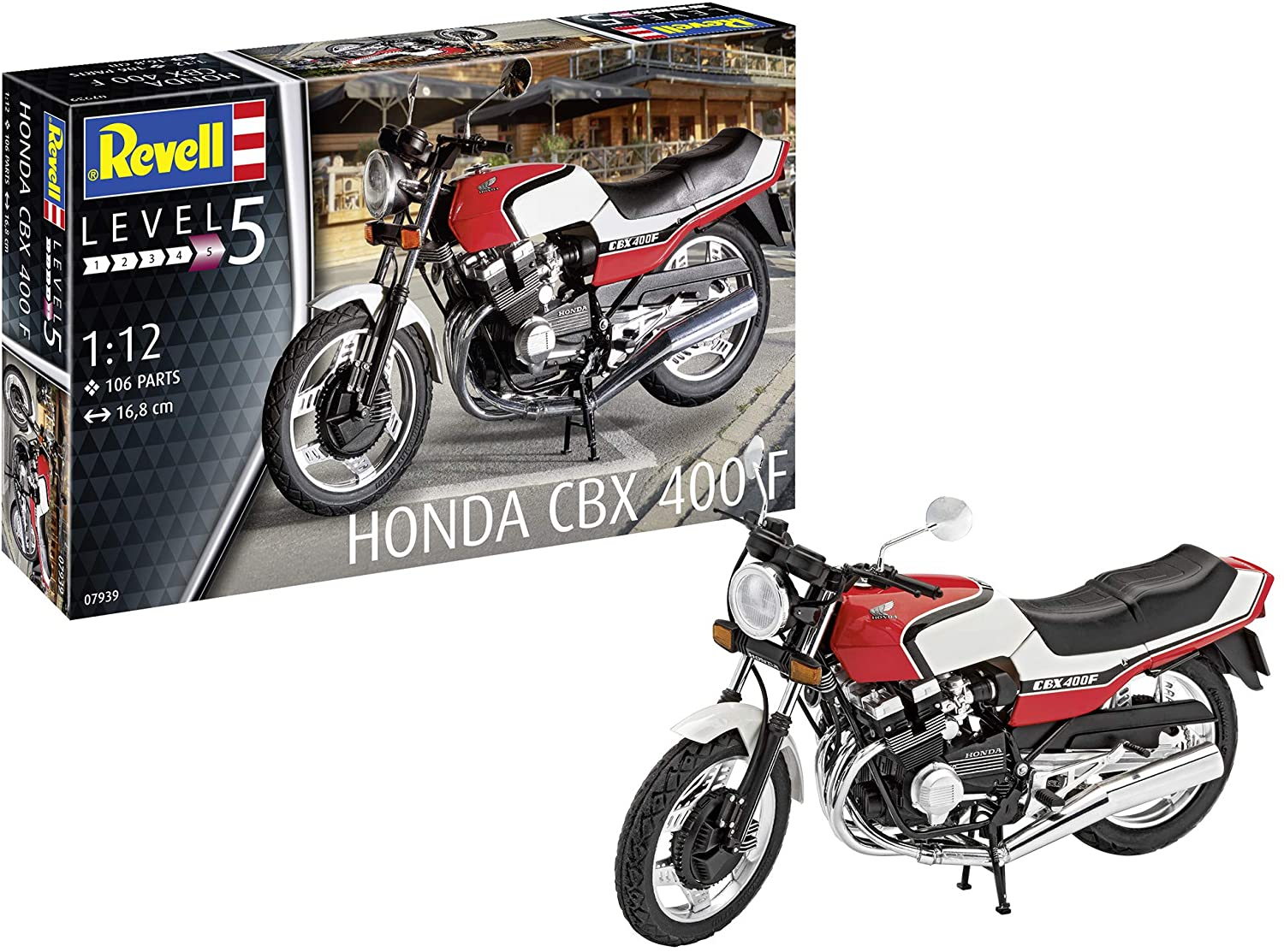 Revell GmbH 07939 Honda CBX 400 F Plastic Model Kit, White, 1:12