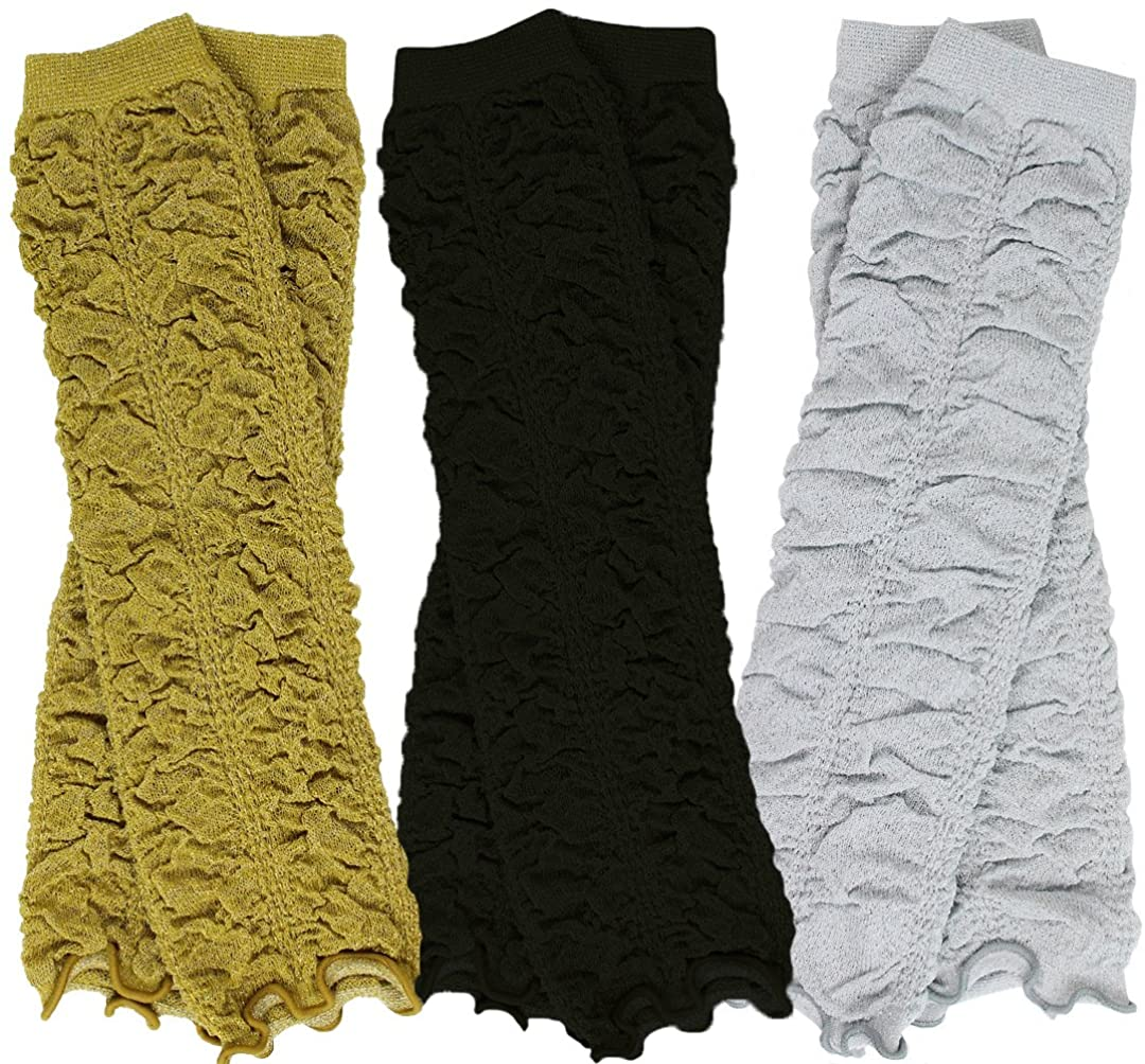 juDanzy 3 Pair Baby Girl Leg Warmers Black, Gold, Silver Rouched Ruffle