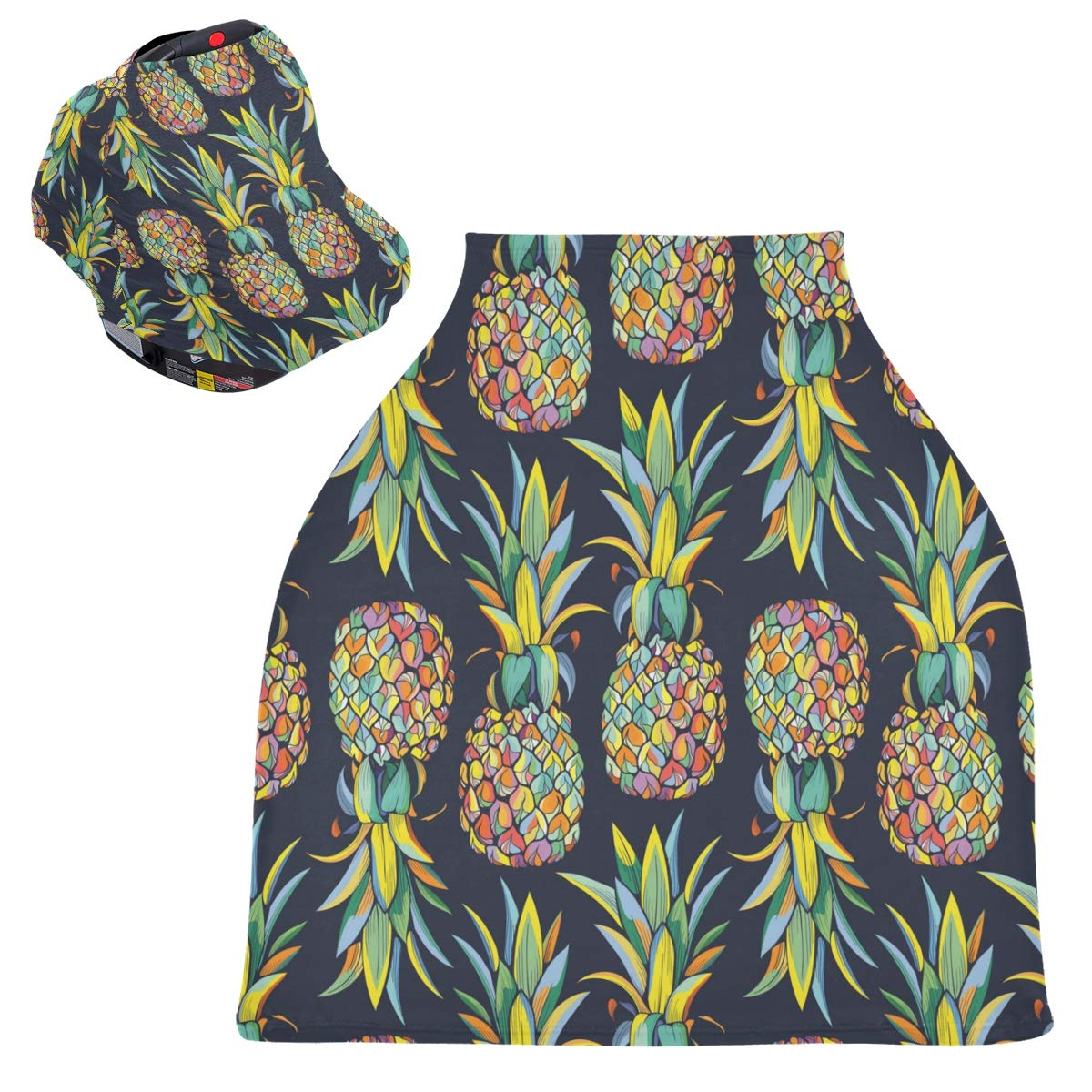 Stretchy Baby Car Seat Canopy - Colorful Pineapples Blue Background Infant Stroller Cover Multi Use Carseat Canopy Cover Nursing Cover for Baby Boy and Girl